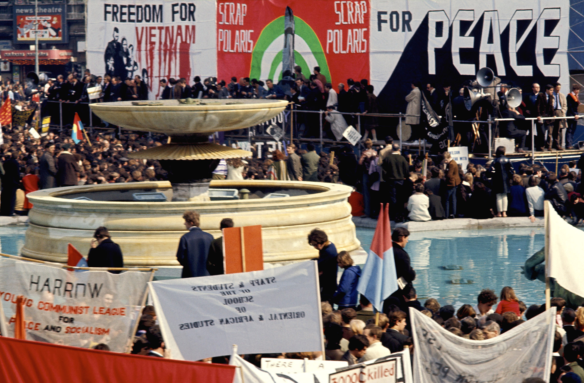 A crowd Campaign for Nuclear Disarmament (CND) anti war, peace demonstration, Trafalgar Square, 1960s by Chris Morris