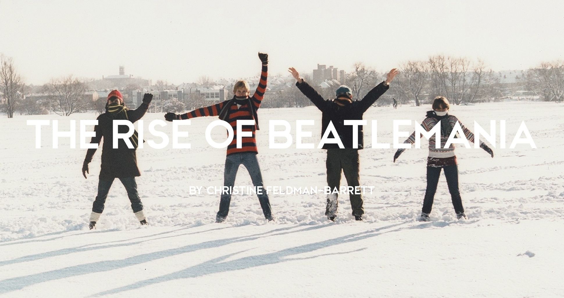 Teenage Beatles fans recreating cover of Help album in the snow in a park, London, 1980s by Mark Charnock