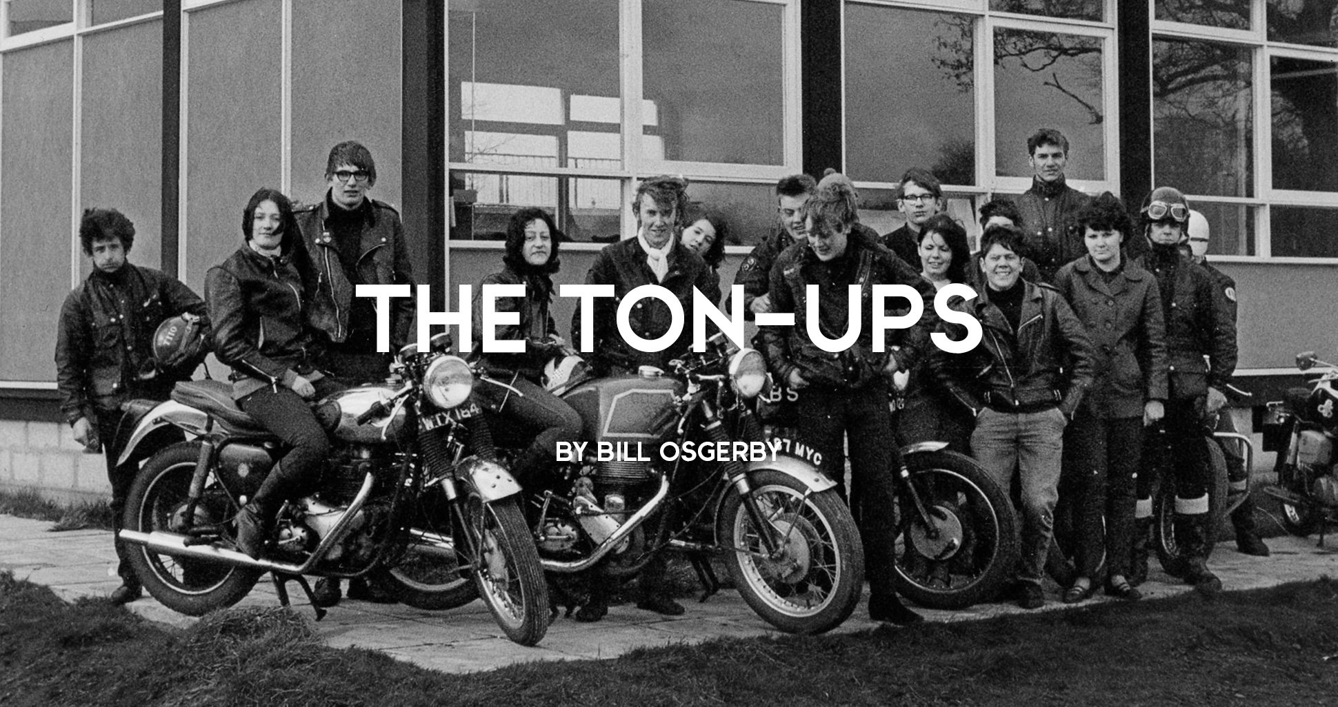 group of male and female bikers and rockers from the 59 club in leather jackets on their motorcycles during a ride out, 1960s
