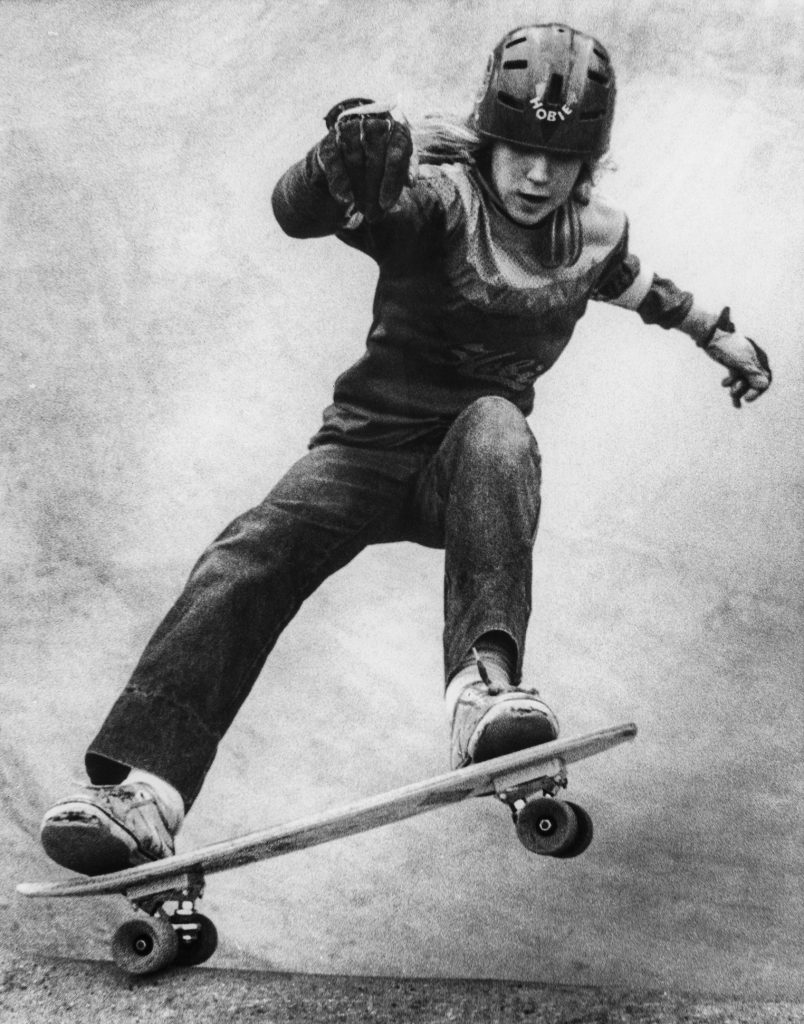 Skateboarder in a bowl in a London skate park, 1970s by Alex Appleby