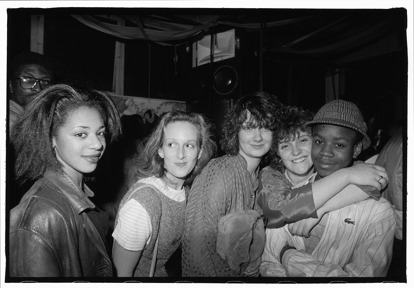 Group of b-boys and b-girls on a night out at Dug Out, Bristol, 1985 by Beezer