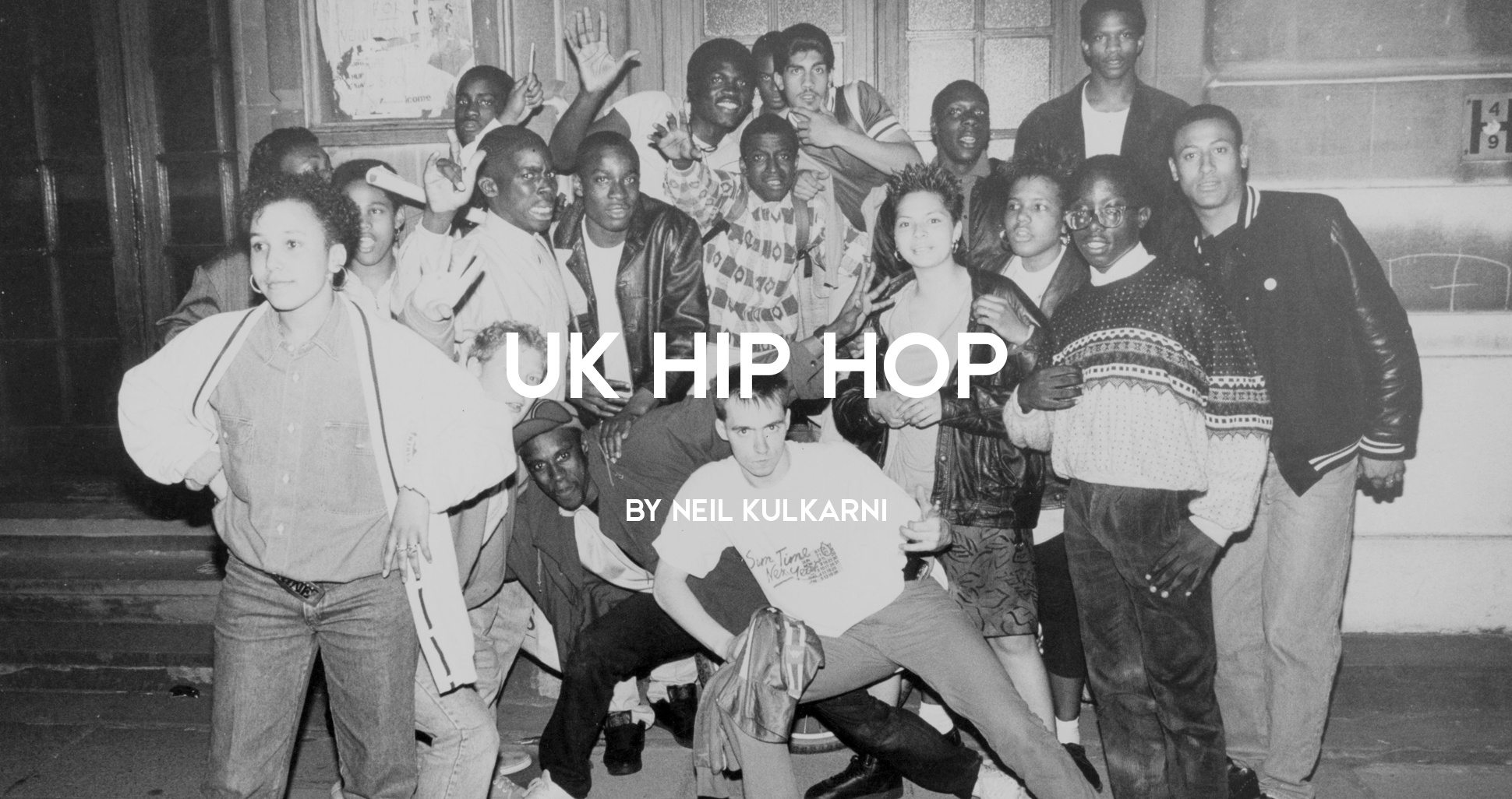 Group of UK hip hop fans and artists at a Youth Against Apartheid event, Camden, 1980s by Normski