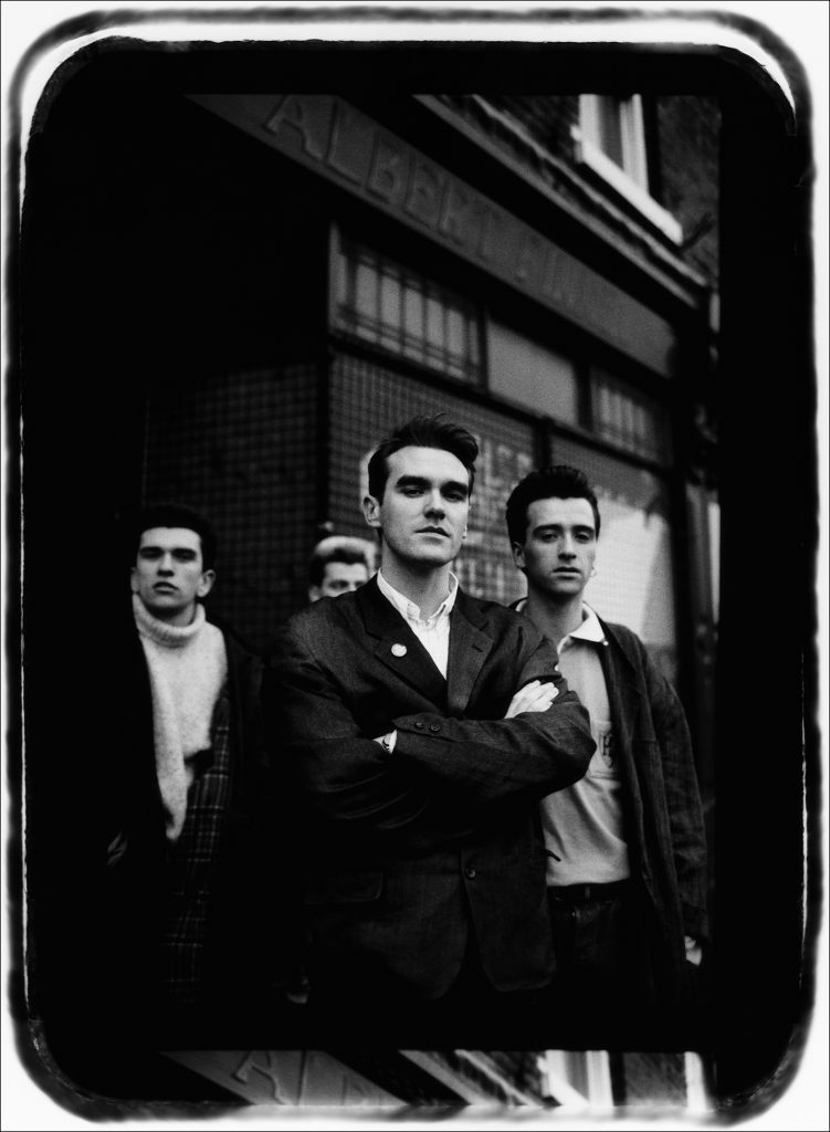 The Smiths (Morrissey, guitarist Johnny Marr, bassist Andy Rourke, and drummer Mike Joyce), 1980s by Laurence Watson