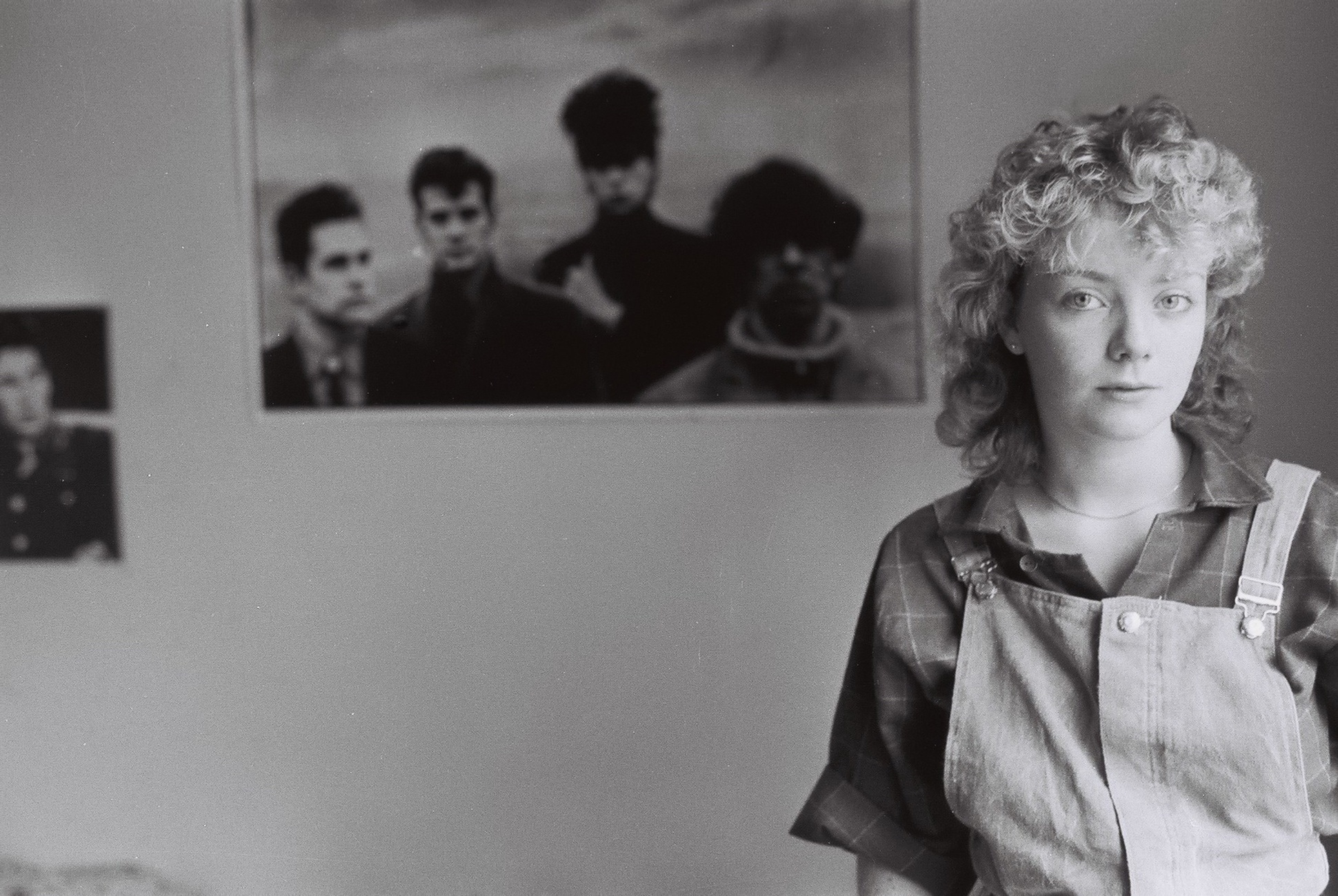 Indie student in dungarees in her university bedroom, 1980s by Mark Charnock