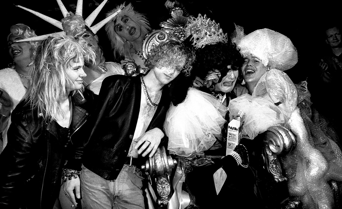 Clubbers dressed up and in drag after a competition at The Hacienda, Manchester, 1990s by Peter Walsh