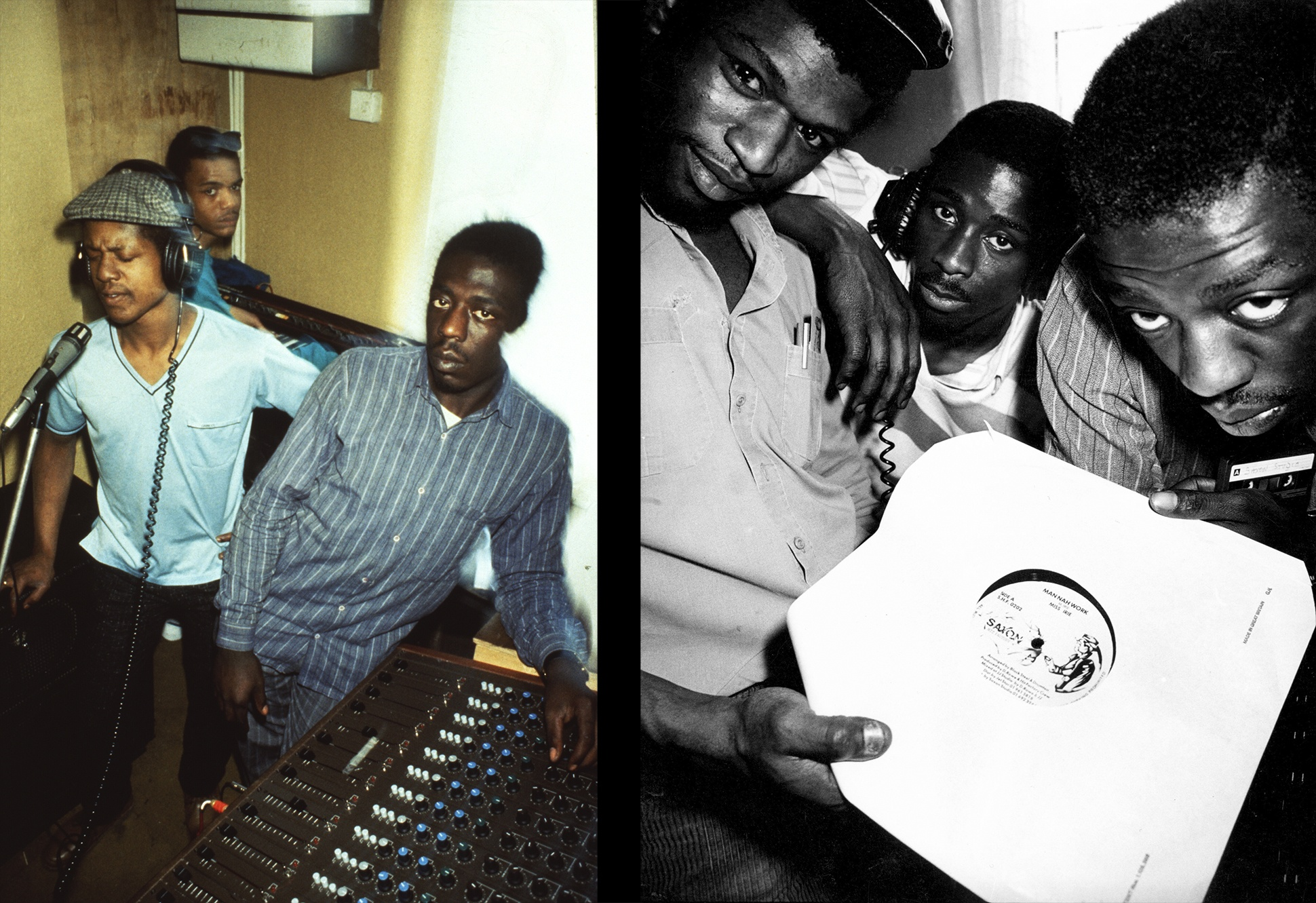 South London based Saxon Crew in their studio and posing with a record, London, 1980s by Normski