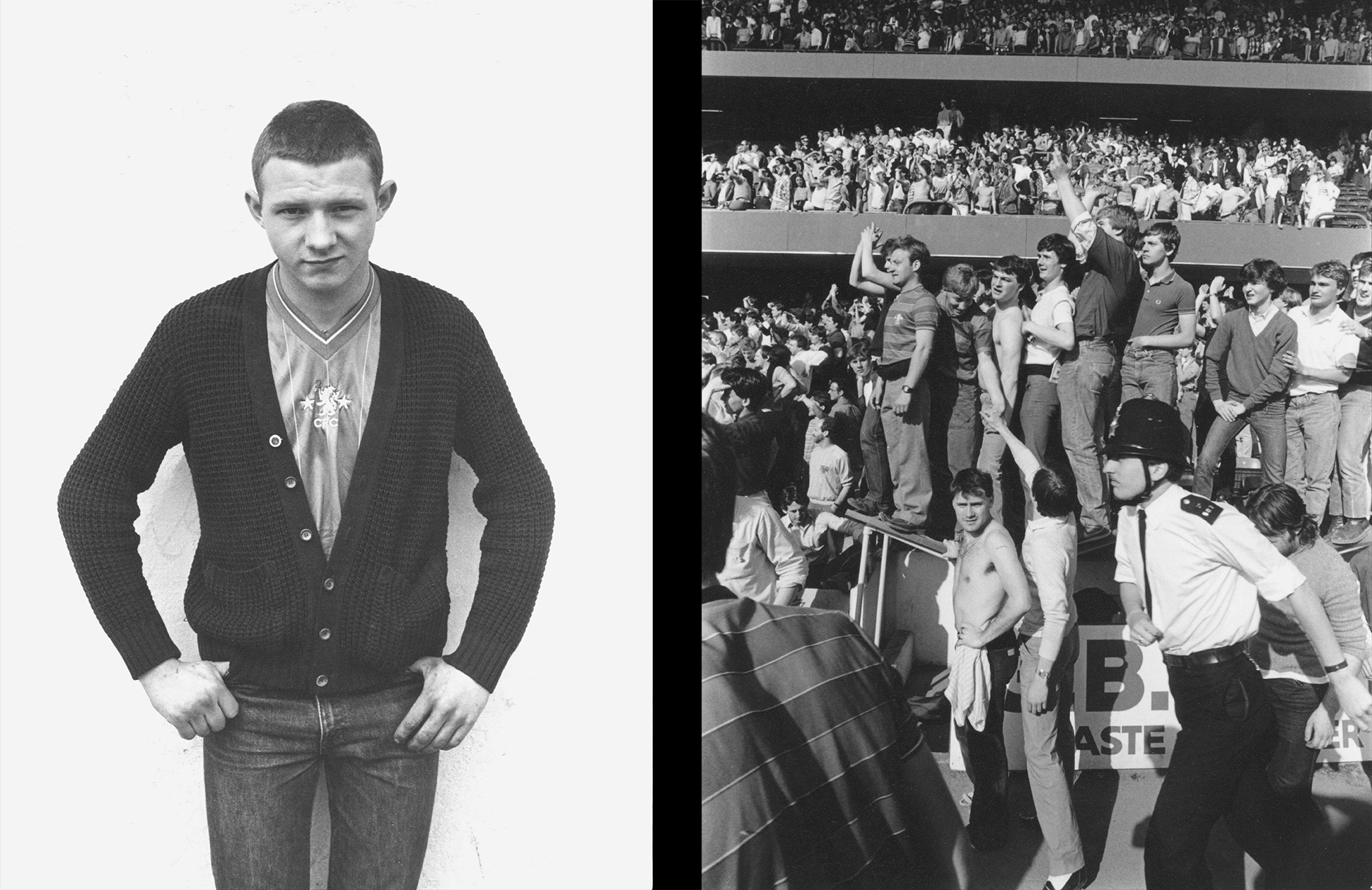 Chelsea football fan wearing a strip and knitted cardigan, and casuals in the football terraces, London, 1980s by John Ingledew